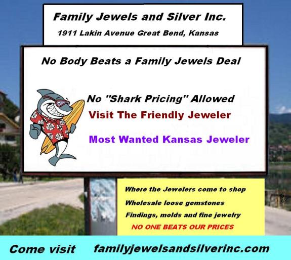 Family Jewels and Silver Inc. 1911 Lakin Avenue Great Bend, Ks  67530 Phone: 620-796-2252 http://familyjewelsandsilverinc.com/